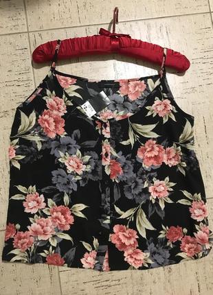 Топ блуза бельевой стиль на брителях на пуговицах цветочная