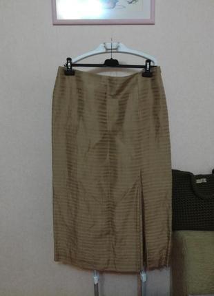 Красивая фирменная лён+шёлк юбка kaliko, р.16 (18)