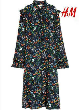 Платье, с оборками. цветочный принт.h&m.