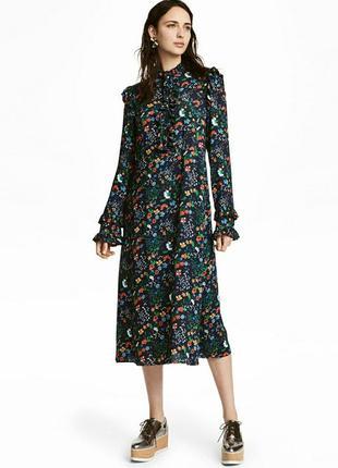 Платье, с оборками. цветочный принт.h&m.2 фото