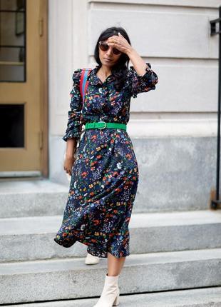 Платье, с оборками. цветочный принт.h&m.6 фото