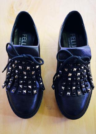 Кожаные ботинки/туфли/дерби на танкетке fellini (италия)