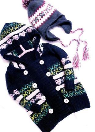 Шикарное двубортное вязаное пальто/кардиган/кофта капюшонка в традиционный принт next.