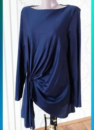 Cos тренд 2020  стильная натуральная блуза в синем цвете с длинным рукавом