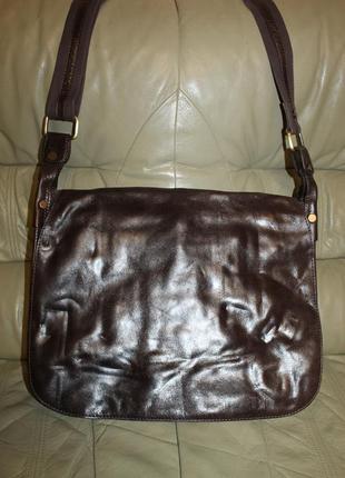 Большая фирменная сумка из натуральной кожи и текстиля maddison