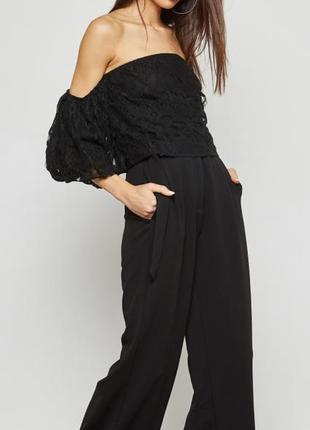 Блуза чёрная гипюровая майка топ майка missguided asos