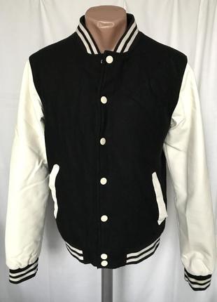 Куртка-бомбер 55% шерсть с рукавами из искусственной кожи
