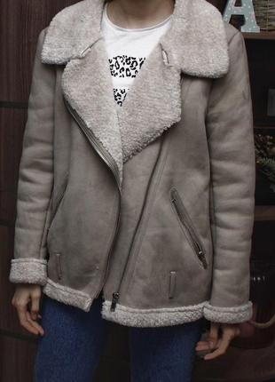 Куртка авиатор, косуха на меху, дубленка zara