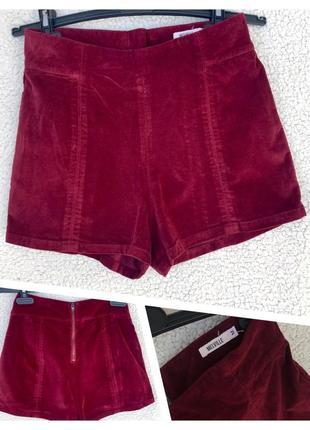 Велюровые шорты с высокой талией идеал, s/м
