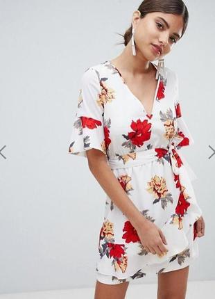 Платье мини с цветочным принтом и поясом zara