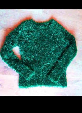 Клевый свитер травка бутылочно зеленого изумрудного цвета