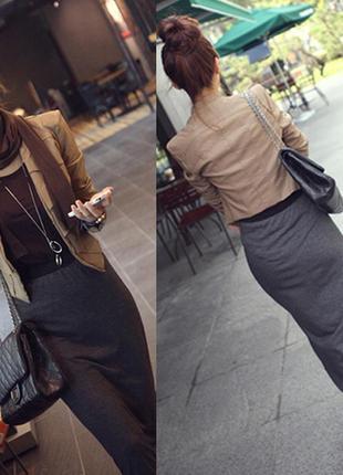 Длинная серая юбка 6 размера