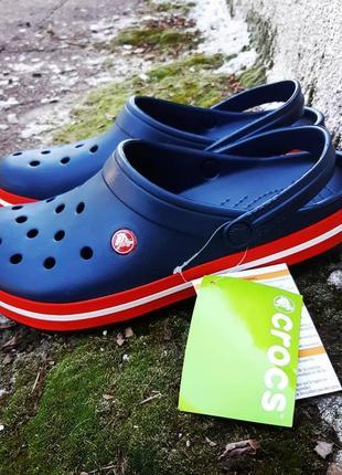 Кроксы сланцы сабо crocs crocband unisex navy/red2 фото