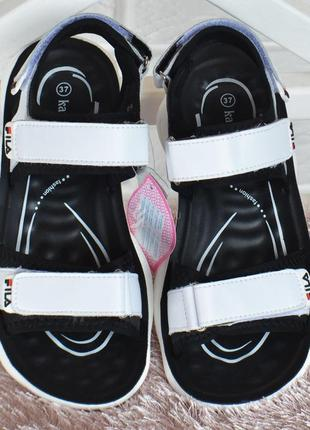 Босоножки кожаные fila style на девочку сандалии белые на липучках3 фото