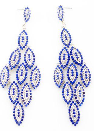 Красивые длинные синие серьги