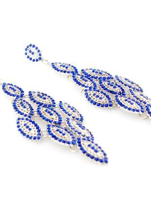 Красивые длинные синие серьги2 фото