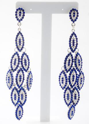 Красивые длинные синие серьги3 фото