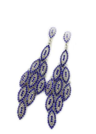 Красивые длинные синие серьги4 фото