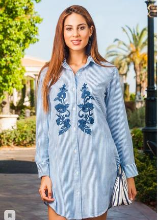 Пляжная полосатая длинная туника рубашка на пуговицах с вышивкой индиано3 фото
