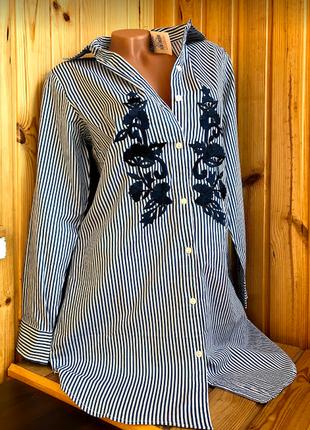 Пляжная полосатая длинная туника рубашка на пуговицах с вышивкой индиано2 фото