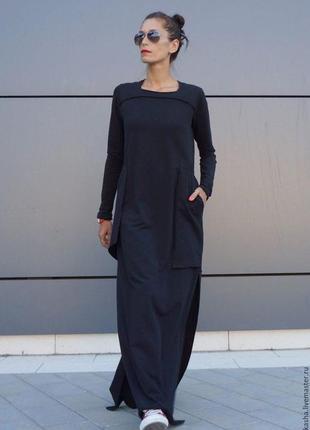 #чёрное трикотажное  платье #бохо #хиджаб миди