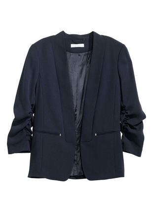 Супер цена !!! распродажа! приталенный синий жакет/синий пиджак с длинным рукавом h&m
