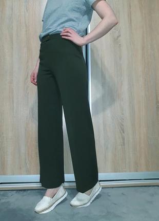Шикарные брюки-кюлоты на высокой посадке цвета хаки италия