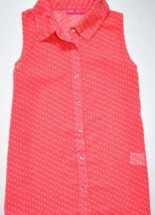 Primark yd/красивая коралловая блуза в горох. 8-9 лет. рост 134 см.