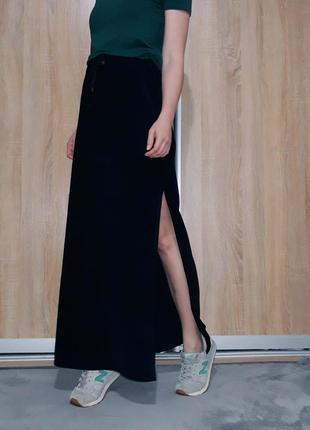 Шикарная юбка в пол ровного кроя на высокой посадке с разрезом италия