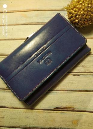 Темно- синий/ кожаный кошелек/💯%- кожа/италия/valentini