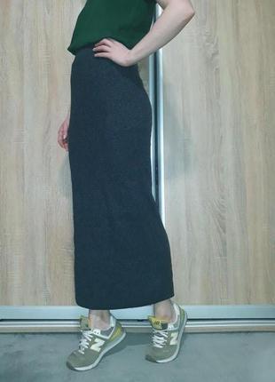 Классная мягкая юбка резинка в рубчик на высокой посадке