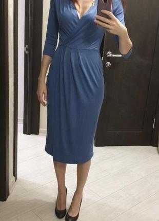 Платье (xs-s) на запах голубое из вискозы