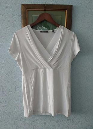 Белая блуза трикотаж- вискоза эластан