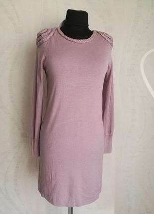 Платье,туника ,удлиненный джемпер, цвета пыльной-розы с акцентными плечиками