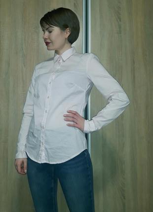 Бледно-розовая хлопоковая приталенная рубашка бренда benetton