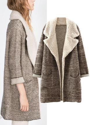 Теплое шерстяное вязанное пальто кардиган