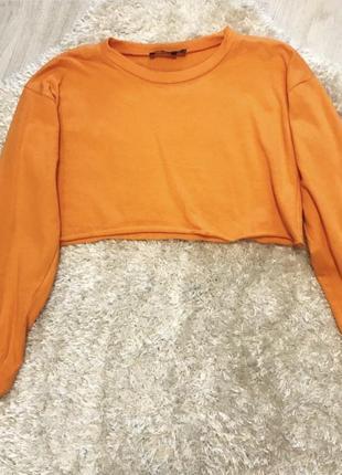 Укороченое оранжевое худи топ розмер с