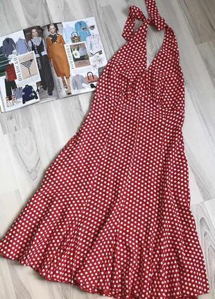 Платье миди в горох с бантом открытая спинка