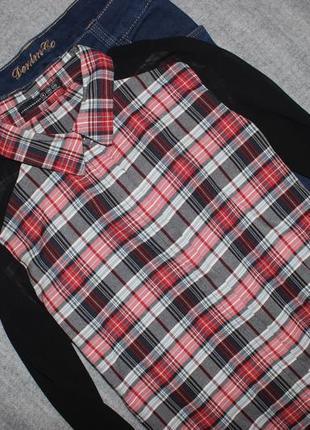 Рубашка в клетку с шифоновыми рукавами