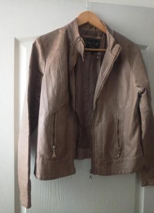 Кожаная куртка, пиджак кремового цвета с золотым замочком🌷2