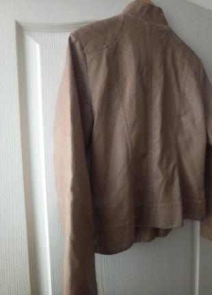Кожаная куртка, пиджак кремового цвета с золотым замочком🌷7