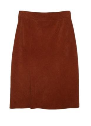 Вельветовая расклешенная юбка миди ниже колена размер наш 46