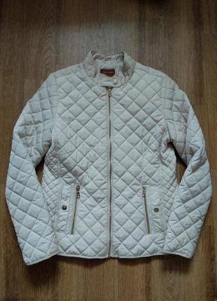 Стильная стеганая куртка ветровка на молнии с карманами стойка воротник от zara2 фото