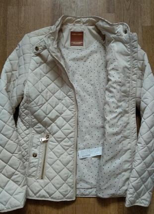 Стильная стеганая куртка ветровка на молнии с карманами стойка воротник от zara5 фото