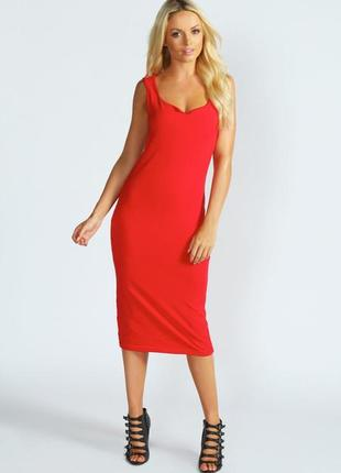 Платье h&m обтягивающее миди красное