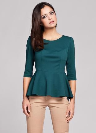 Красивая блуза изумрудного цвета с v-вырезом и воланом на талии reserved