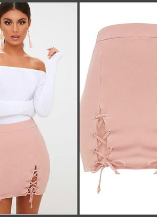 Розовая пудровая  мини-юбка на шнуровке