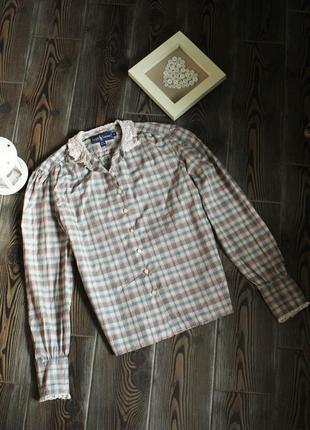 Рубашка блуза в клетку с кружевом в винтажном бохо стиле хс/с