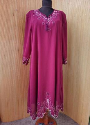Платье туника с вышивкой креп / джалаба xl/ xxl
