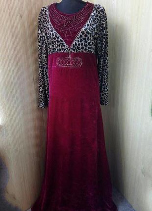 Велюровое платье леопардовый принт / галабея1 фото